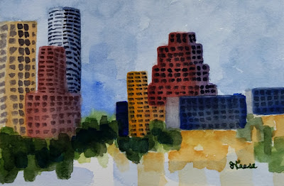 Austin From Palmer Event Center - John Keese - Watercolor