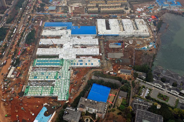 Hospital Huoshenshan - Vista aérea