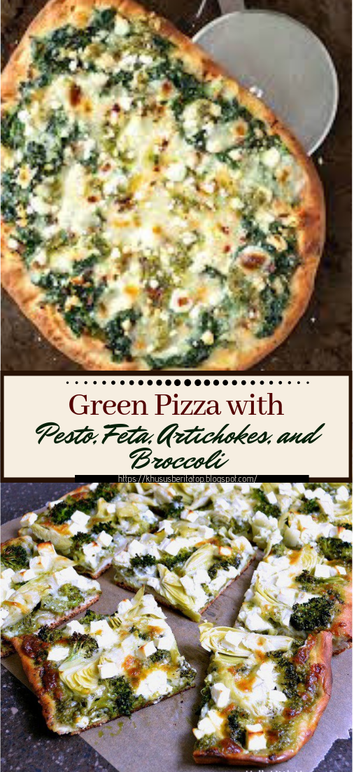 Green Pizza with Pesto, Feta, Artichokes, and Broccoli #dinnerrecipe #food #amazingrecipe #easyrecipe