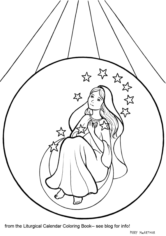 Snowflake Clockwork: Immaculate Conception coloring page