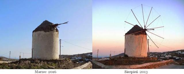 podupadłe młyny wiatrowe w Ano Mera Mykonos Grecja