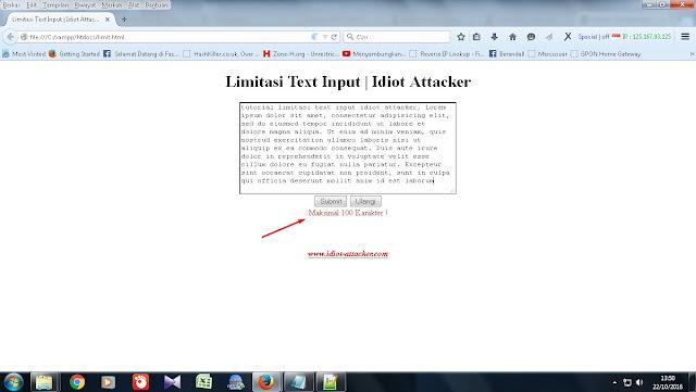 Tutorial membuat Limitasi text input dengan javascript