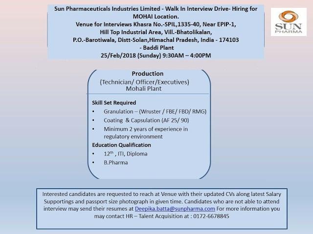 Pharma Vacancy: Walk in for Sun Pharma in Baddi on 25th Feb 2018