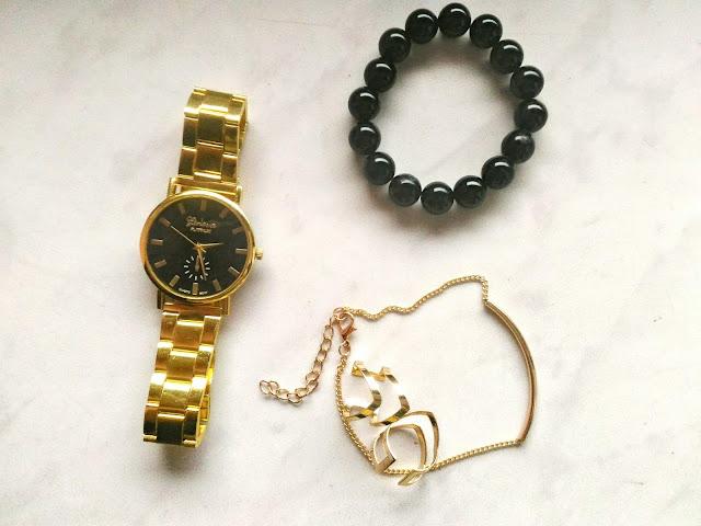 złoty zegarek Geneva Platinum i biżuteria