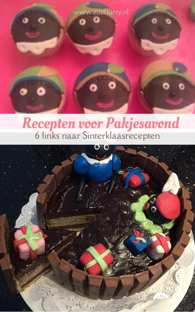 Zes handige links naar Sinterklaasrecepten van lekkernijen voor pakjesavond, bijvoorbeeld pepernoten, Sinterklaastaart, Pietentaart of speculaascupcakes.