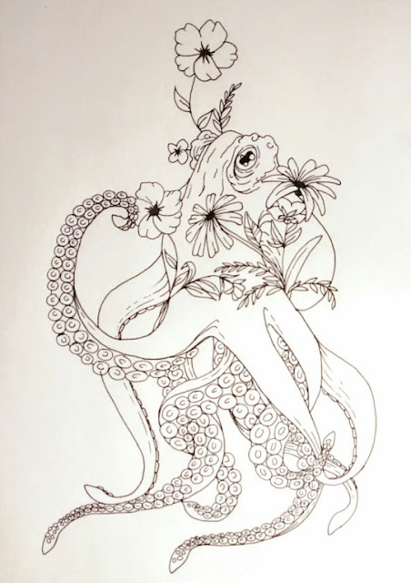 Octopus Tattoo with Flowers