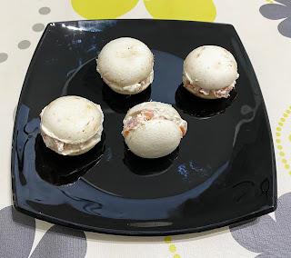 Fake mushroom macarons stuffed with salmon and cream cheese