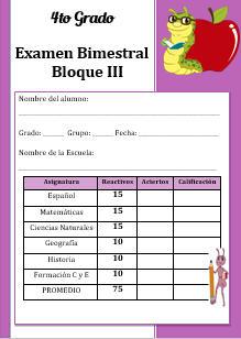 Examen del Bloque 3 Ciclo escolar 2016-2017 Cuarto grado