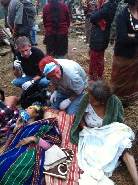 Giving first aid to the villagers of Jatan