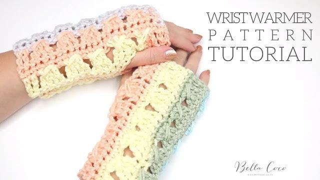 Hermoso Calienta Muñecas o Mitones Tejido a Crochet