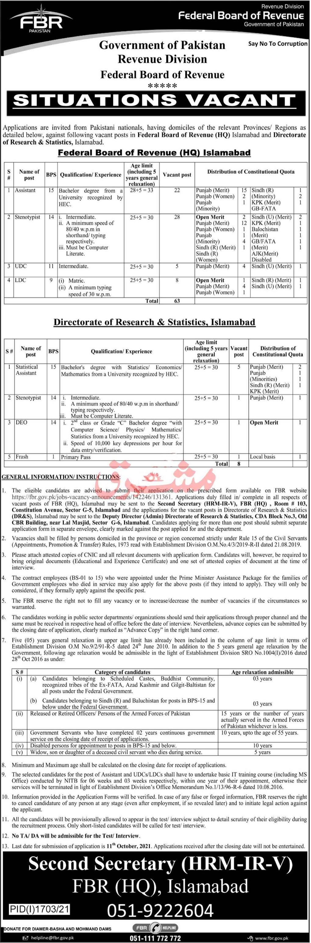 Federal Board of Revenue FBR Pakistan Revenue Division Jobs 2021