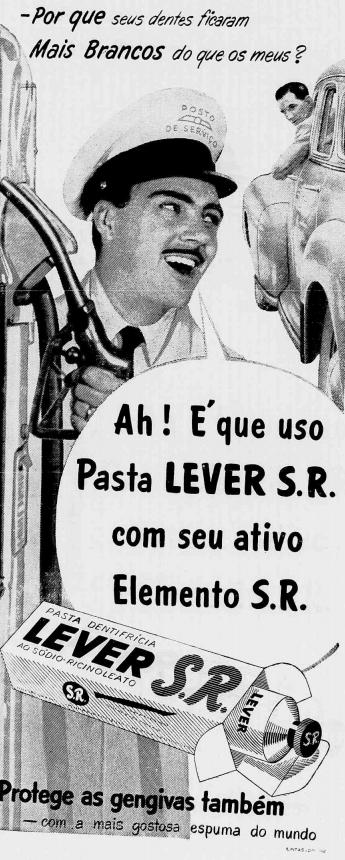 Propaganda antiga da pasta dentifrícia Lever em meados dos anos 50