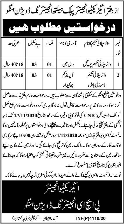 Public Health Engineering Division Latest Jobs in Pakistan Jobs 2020