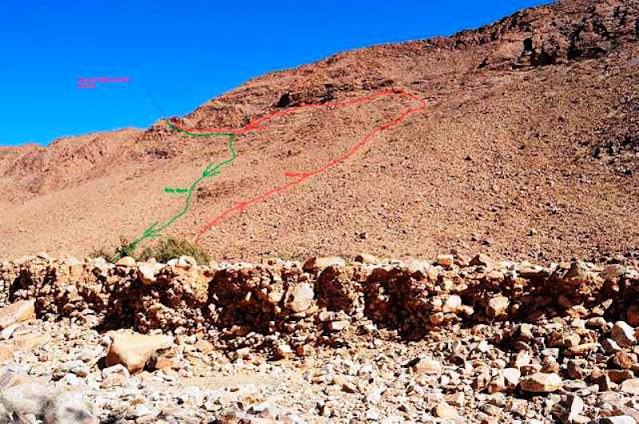 Farid's routes up (red) and back down (green) the mountain ridge where the Osprey died.