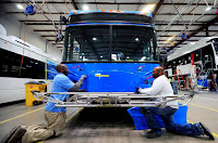 China's BYD electric bus company has a factory in Lancaster, California. While the vast majority of the world's electric buses are in China, the U.S. numbers are growing. (Credit: Li Ying/Xinhua via Getty Images) Click to Enlarge.