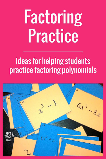 This card sort is a fun activity to help Algebra 2 students practice factoring polynomials.