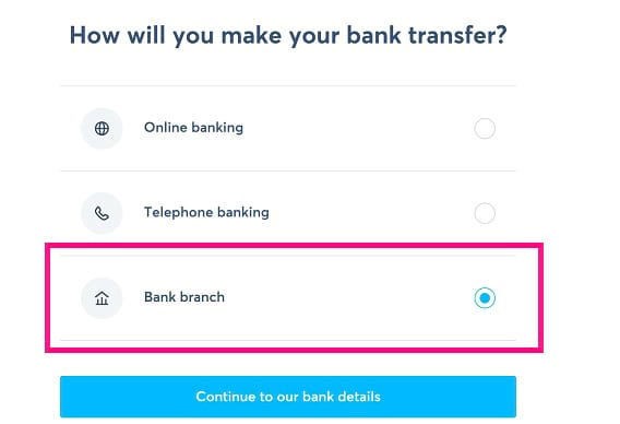 make your bank transfer wise bank branch