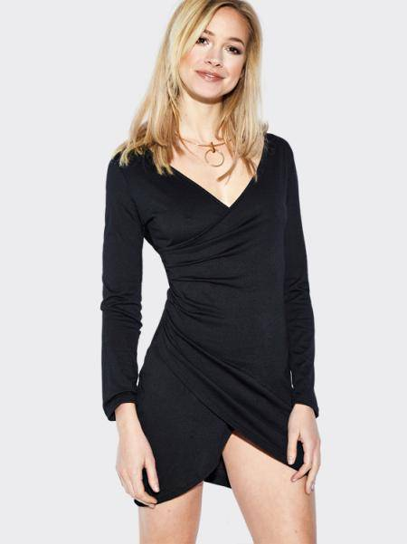 Black V-neck Long Sleeves Sexy Bodycon Party Dress