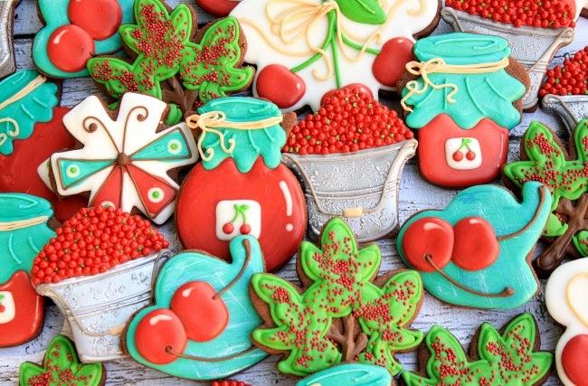 Decorated Cherry Jam Cookies