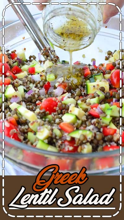 Greek Lentil Salad! This healthy, vegetable packed salad is so delicious! Lentils, Quinoa, Veggies in a tangy lemon dressing. Vegan & Gluten-Free.