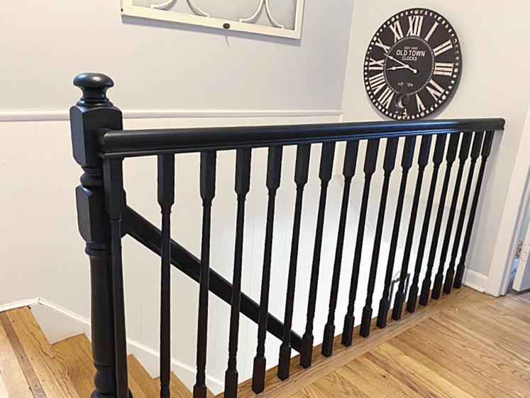 black painted stairwell top