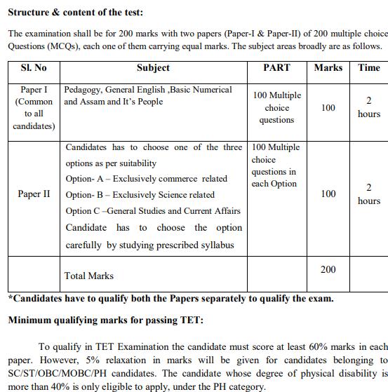 Assam TET Exam Pattern