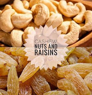 Cashew and raisins