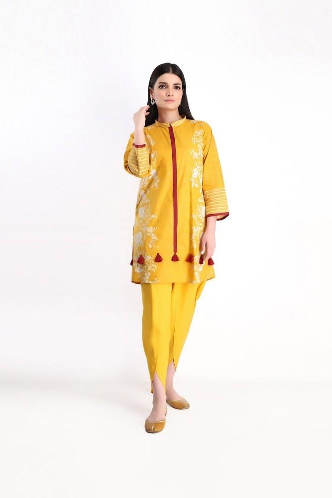 khaadi lawn Shirt shalwar yellow color