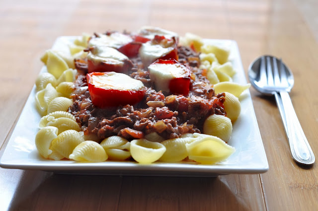 Pasta Beef Mozzarella Melt ~ Simple Food