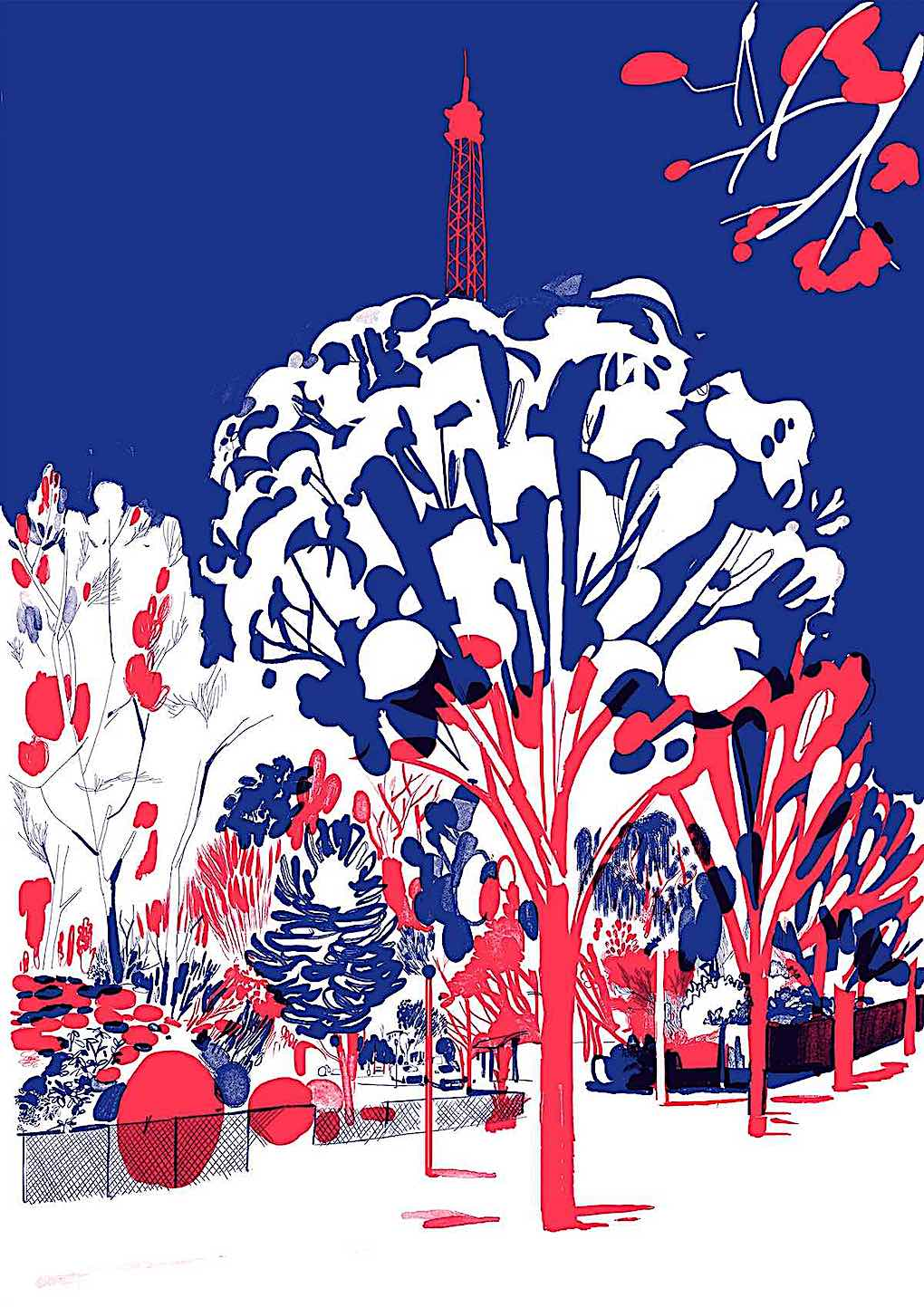 Christoph Niemann red and blue trees in a park