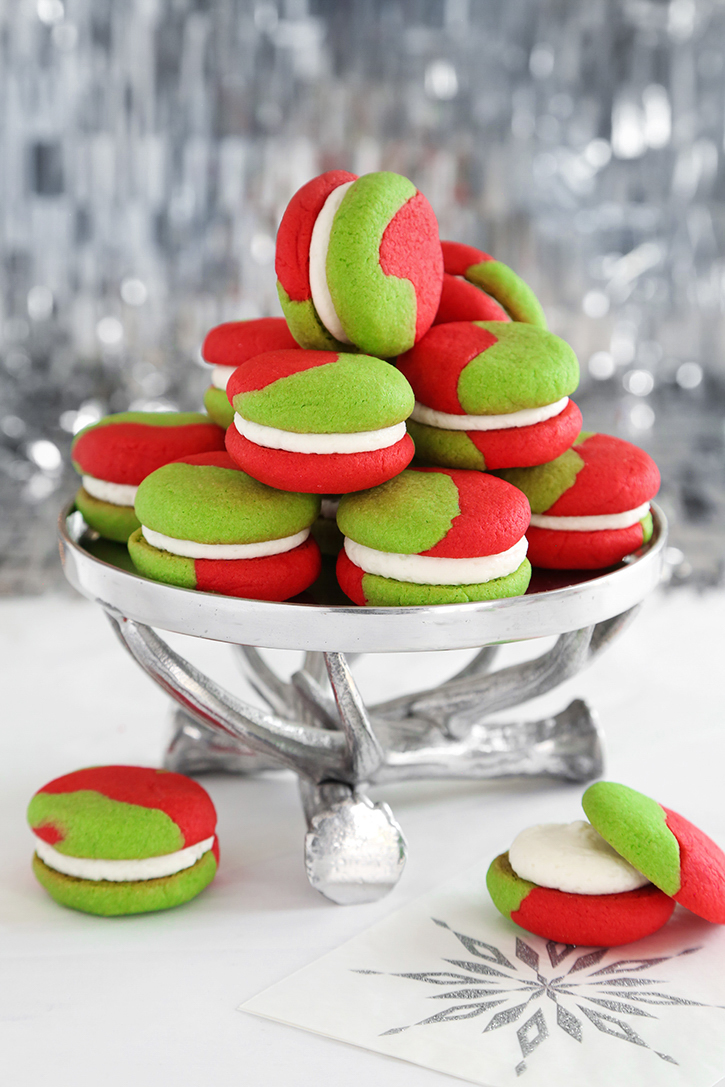 Green Red Cream Cheese Sugar Cookie Sandwiches Sprinkle Bakes