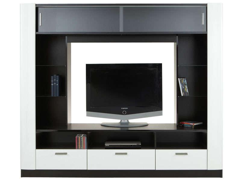 meuble tv laque noir et blanc torino. Black Bedroom Furniture Sets. Home Design Ideas