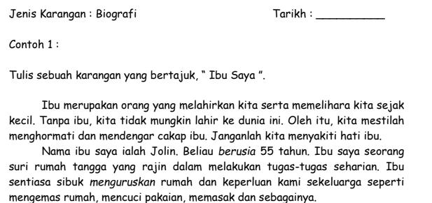 Latihan Karangan Bahasa Melayu Penulisan
