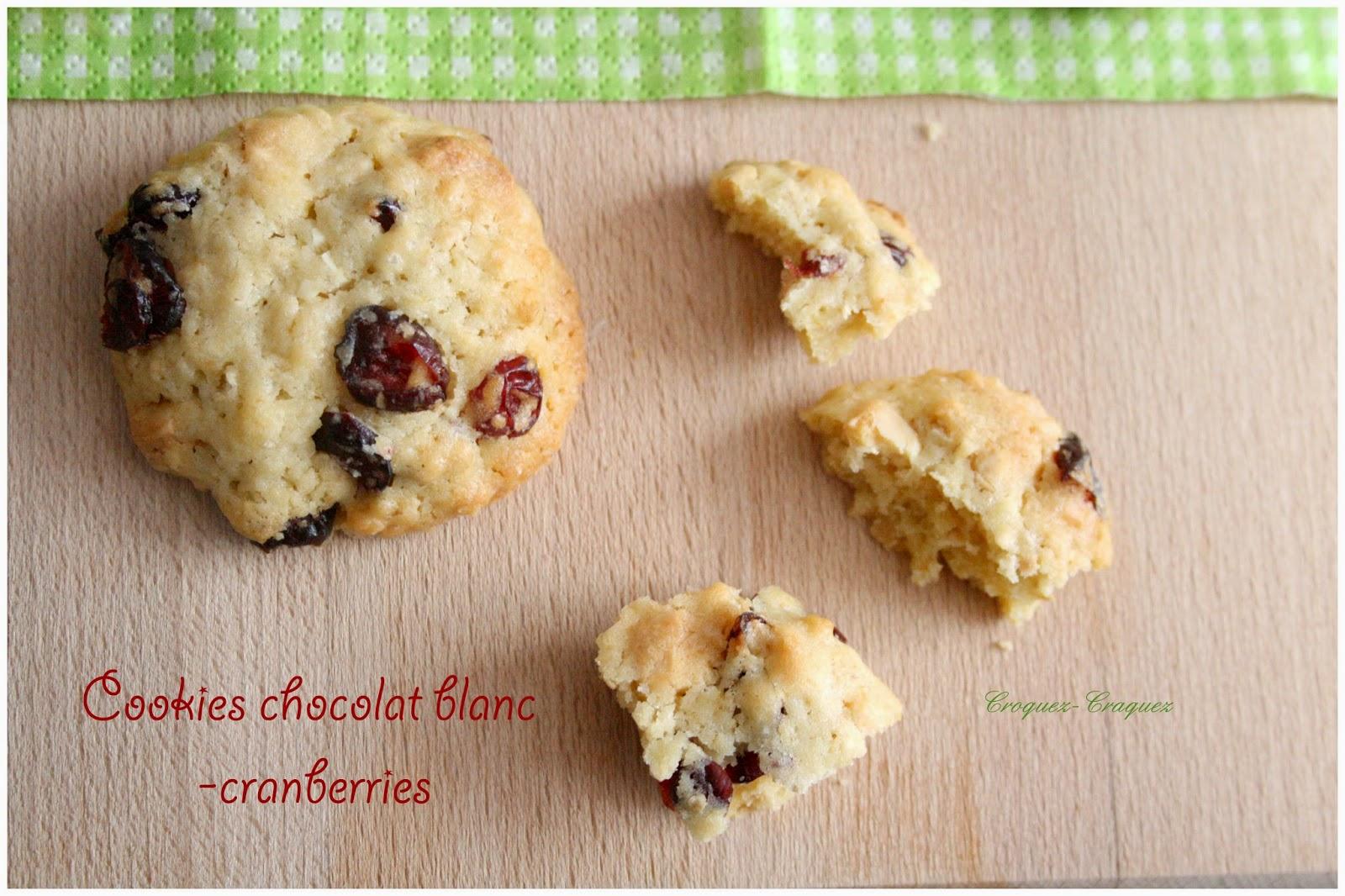 cookies chocolat blanc et cranberries croquez craquez. Black Bedroom Furniture Sets. Home Design Ideas