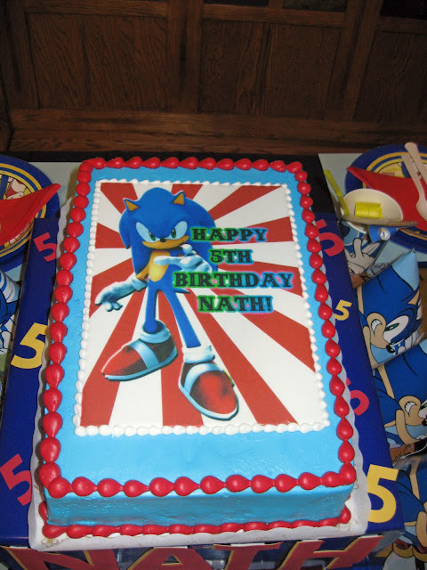 Sonic the Hedgehog Birthday Cake customized with edible paper.