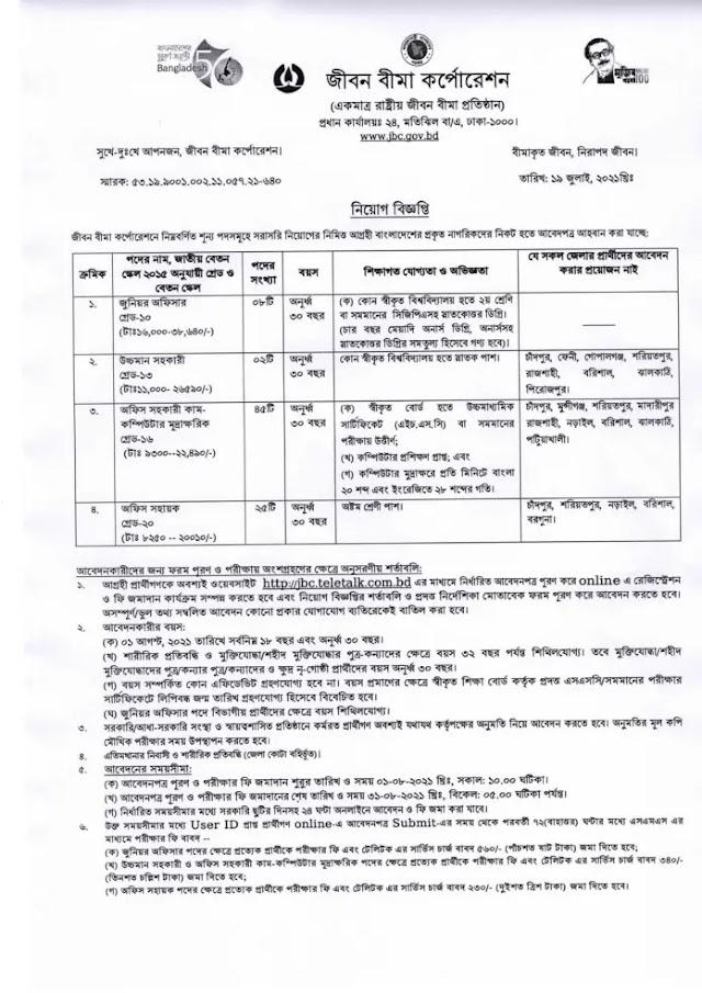 Jiban Bima Corporation (JBC) Job Circular 2021