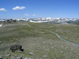 Looking down at the Tundra Trail from the summit. Rocky Mountain N.P.