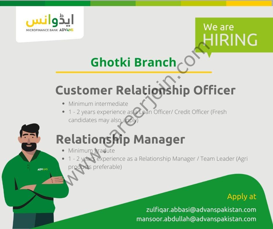 Advans Pakistan Microfinance Bank Ltd Jobs August 2021