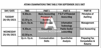 ICAN ATSWA Exam Timetable For September 2021 Diet
