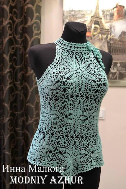 wzory szydelkowych ubran z kwadratow
