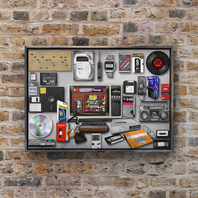vintage technology painted as an artwork