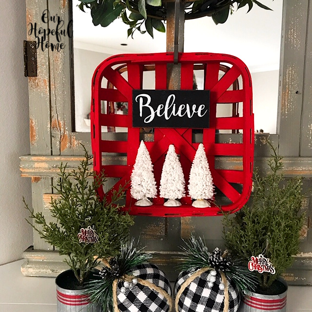 red tobacco basket farmhouse Christmas buffalo check ornaments