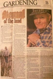 Image of newspaper article by Gerri Bauer about gardener Ellis Price