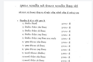 GUJARTA Board SSC & HSC Exam Application Form Fees 2021