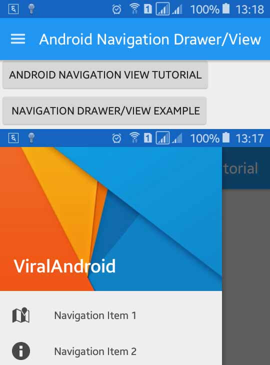 navigation drawer over action bar android example 3