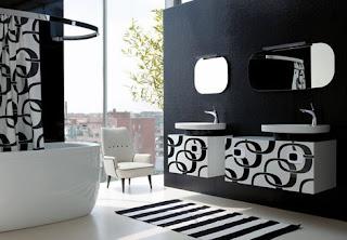 Baño negro blanco
