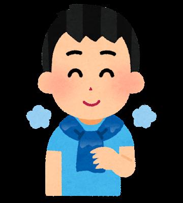 冷えたタオルのイラスト(男性)