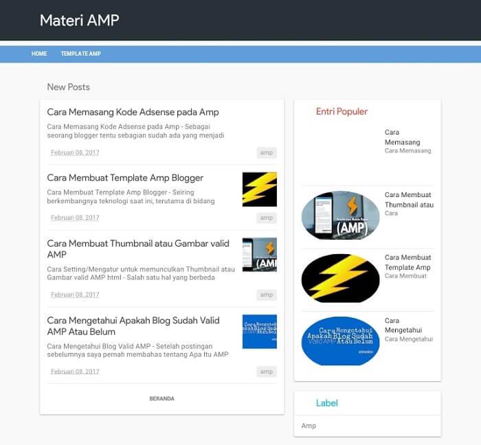Materi-AMP-Blogger-Template