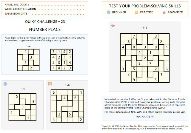 """Number Place or Irregular Sudoku"" Puzzles"