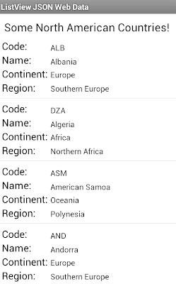 android populate listview from json data